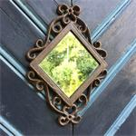 Deurdecoratie, spiegel - Spiegel ruit - ijzeren antieke spie
