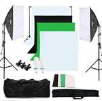 Fotostudio set met achtergrondsysteem, 4 achtergronddoeken,