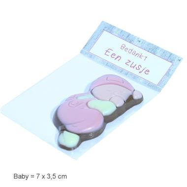 Grote foto geboortebedankjeschocolade baby in zakje kinderen en baby kraamcadeaus en geboorteborden