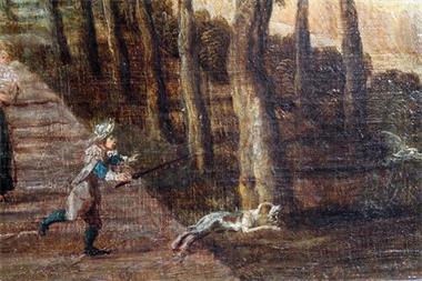 Grote foto antiek schilderij van adam franz van der meulen. huis en inrichting kunst