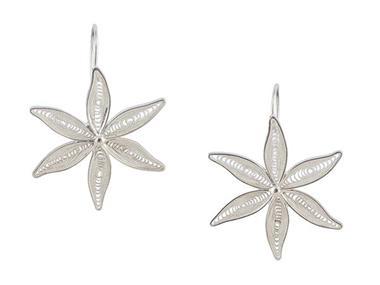 Grote foto peruaanse zilveren oorbellen in bloemvorm sieraden tassen en uiterlijk oorbellen