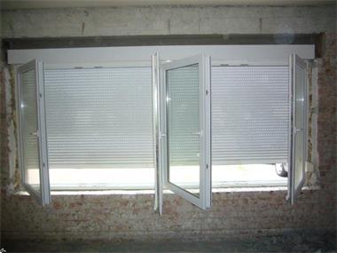 Grote foto venster wit 4 delig met rolluik 386cm 157 5cm doe het zelf en verbouw glas en ramen