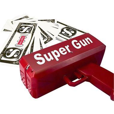 Grote foto money gun geld pistool cash cannon met nep geld kinderen en baby speelgoed voor jongens