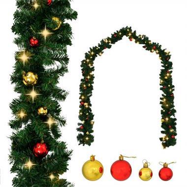 Grote foto vidaxl kerstslinger versierd met kerstballen en led lampjes diversen overige diversen