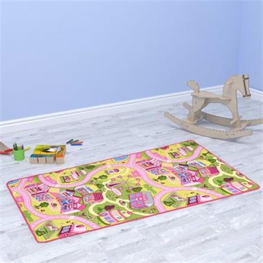 Grote foto vidaxl speeltapijt 190x290 cm lussenpool zoet dorpspatroon kinderen en baby overige babyartikelen