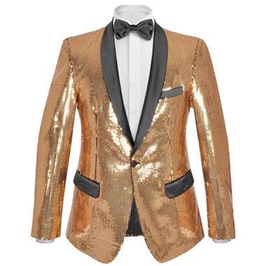 Grote foto vidaxl blazer heren met pailletten goud maat 52 kleding heren kostuums en colberts