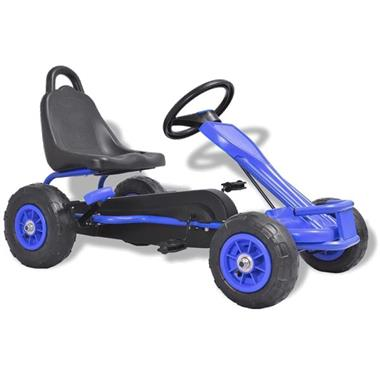 Grote foto vidaxl skelter met pedalen en pneumatische banden blauw kinderen en baby los speelgoed