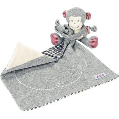 Grote foto k the kruse knuffeldoek monkey carlo grijs 0174905 kinderen en baby knuffels en pluche