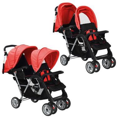 Grote foto vidaxl dubbele kinderwagen staal rood en zwart kinderen en baby kinderwagens