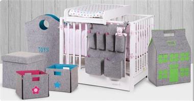Grote foto vilten speelgoedtas xl rond grijs mint kinderen en baby complete kinderkamers