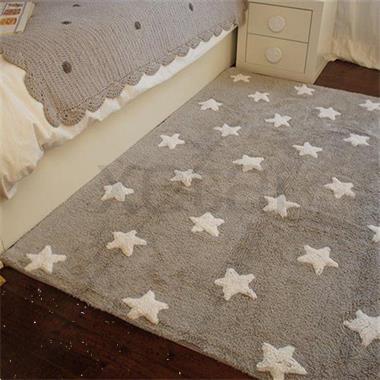 Grote foto wasbaar sterren vloerkleed katoen. grey stars white kinderen en baby complete kinderkamers