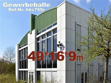Grote foto bedrijfshal kantoorhal 49x16x10m gebruikte loods bedrijfspanden opslagruimte te koop