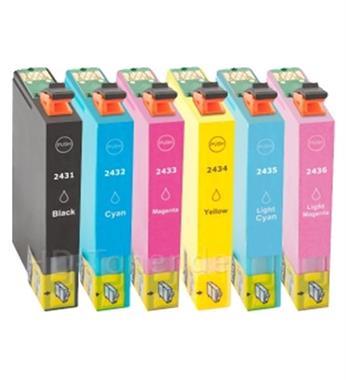 Grote foto inktcartridges epson t 2431 t 2436 24xl set huismerk computers en software printers