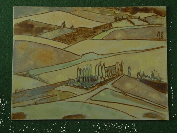 Grote foto tegel keramiek. hand painted. groot. antiek en kunst keramiek en aardewerk