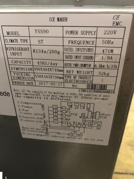Grote foto nieuw rvs ijsblokjesmachine 45 kg per dag 230v horeca diversen overige diversen