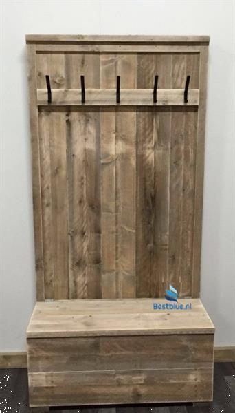 Beste Steigerhouten Kapstok met Bank en Opbergruimte Kopen | Overige MO-28