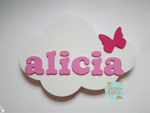 Grote foto naambord wolk zelf samen te stellen kinderen en baby kraamcadeaus en geboorteborden