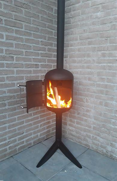 Grote foto houtkacheltje voor op terras tuin en terras barbecues en vuurkorven