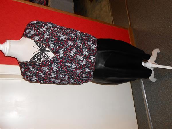 Grote foto kleedje met onderkant lederlook morgan maat 42 kleding dames jurken en rokken