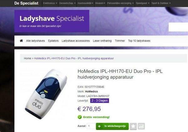 Grote foto homedics ipl hh170 eu duo pro beauty en gezondheid ontharing