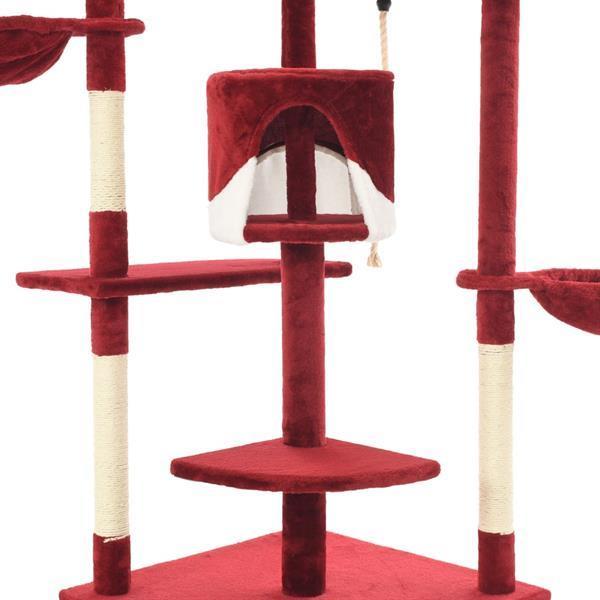 Grote foto vidaxl kattenkrabpaal met sisal krabpalen 203 cm rood en wit dieren en toebehoren katten accessoires
