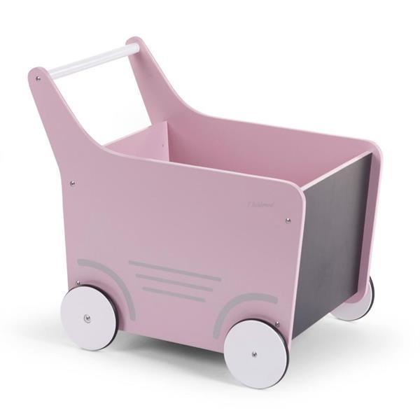 Grote foto childwood houten speelgoed wandelwagen roze wodstrp kinderen en baby overige babyartikelen
