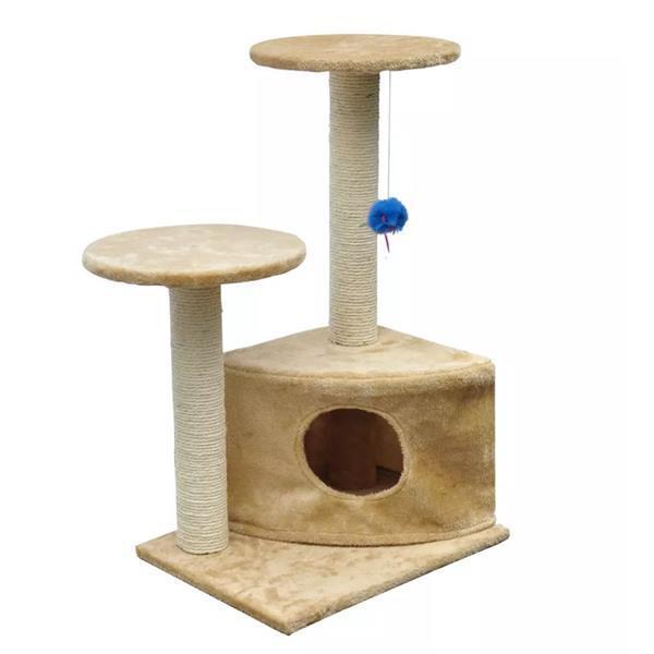 Grote foto vidaxl kattenkrabpaal lucky 70 cm beige dieren en toebehoren katten accessoires