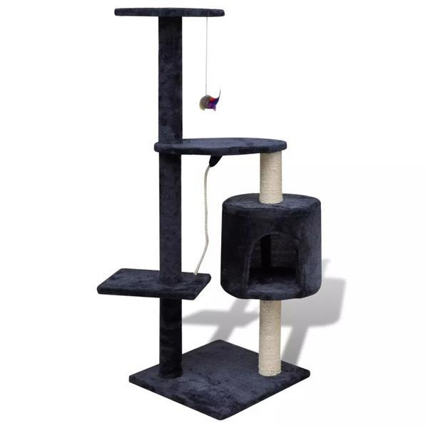 Grote foto vidaxl kattenkrabpaal tommie 114 cm 1 huisje donkerblauw dieren en toebehoren katten accessoires