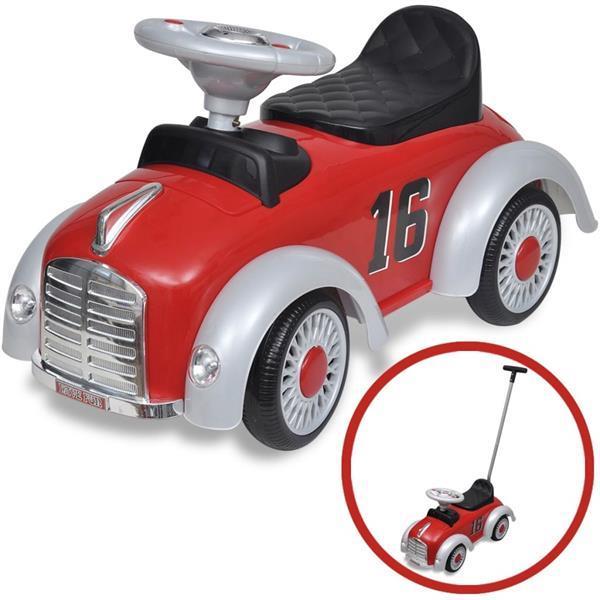 Grote foto vidaxl loopauto retro met duwstang rood kinderen en baby los speelgoed