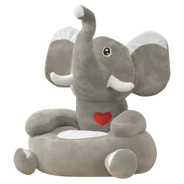 Grote foto vidaxl kinderstoel olifant pluche grijs kinderen en baby kinderstoelen