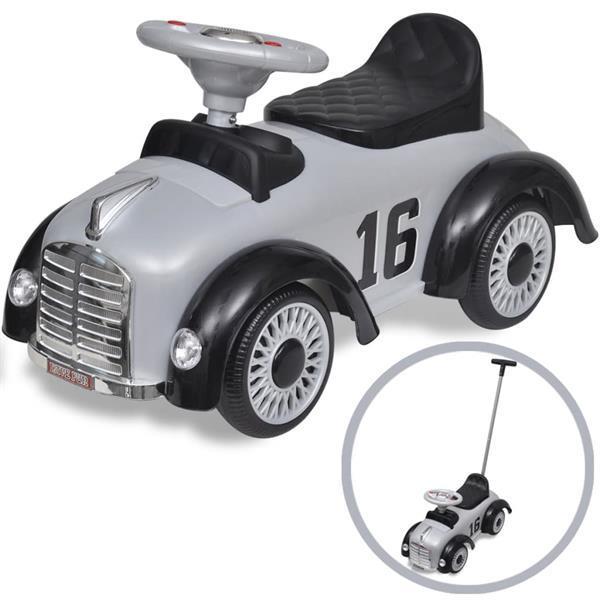 Grote foto vidaxl vida xl loopauto retro met duwstang grijs kinderen en baby los speelgoed