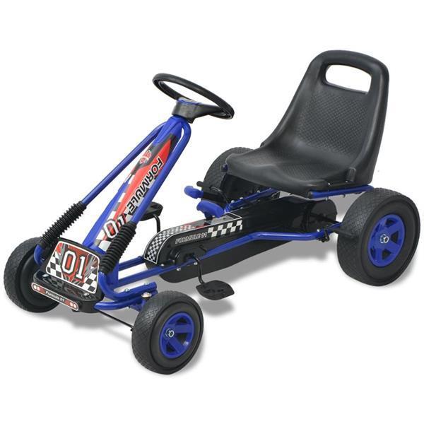 Grote foto vidaxl skelter met pedalen en verstelbare zitting blauw kinderen en baby los speelgoed