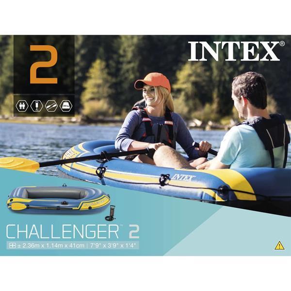 Grote foto intex challenger 2 opblaasboot met peddels en pomp 68367np watersport en boten roeiboten