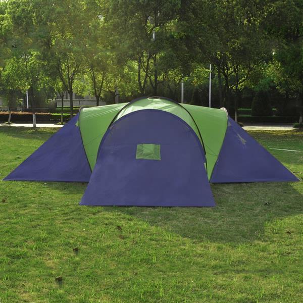 Grote foto vidaxl kampeertent voor 9 personen polyester blauw en groen caravans en kamperen tenten