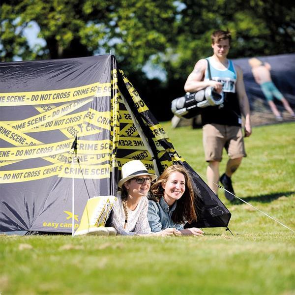 Grote foto easy camp tent met crime scene afbeelding caravans en kamperen tenten