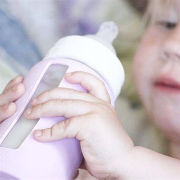 Grote foto brede fles 180 ml met siliconen sleeve pink lavender beauty en gezondheid baby en peuter verzorging