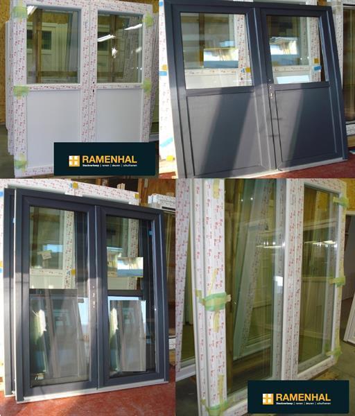Grote foto pvc kwarts grijs ramen stockverkoop ramenhal doe het zelf en verbouw kozijnen en schuifpuien