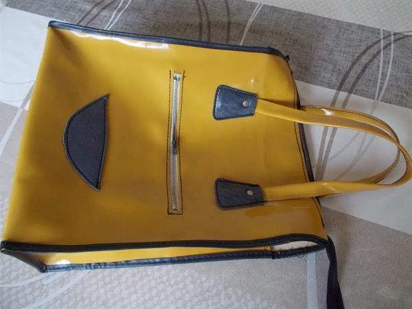 Grote foto grote gele draagtas retro met 2 ritsen kleding dames damestassen