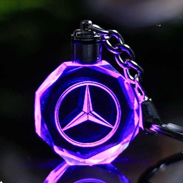 Grote foto glasgeslepen mercedes sleutelhanger roterende led auto mercedes