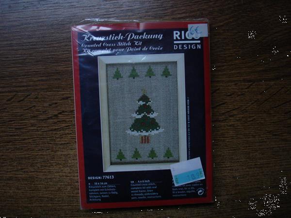 Grote foto borduur kit rico design kerstboom 77613 hobby en vrije tijd borduren