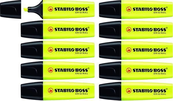 Grote foto stabilo boss original geel doos 10 stuks 20al 2564 zakelijke goederen kantoorartikelen