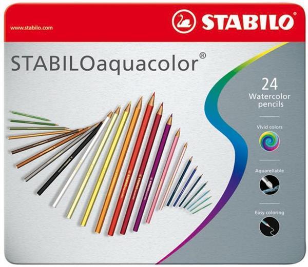 Grote foto stabilo aquacolor kleurpotloden metalen etui 24 stuks 20a zakelijke goederen kantoorartikelen