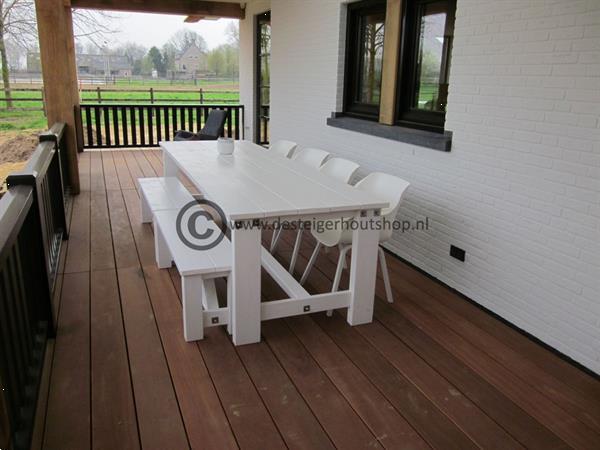 Grote foto steigerhouten tuintafel op maat gemaakt. tuin en terras tuinmeubelen