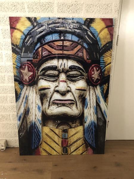 Grote foto wandecoratie kunst op glas full color indian zeer fraai antiek en kunst spiegels