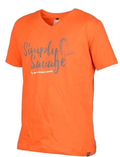 Grote foto savage gear simply savage v neck tee orange maat xl t sh kleding heren t shirts