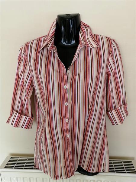 Grote foto getailleerde multicolor blouse met 3 4 mouwen kleding dames blouses