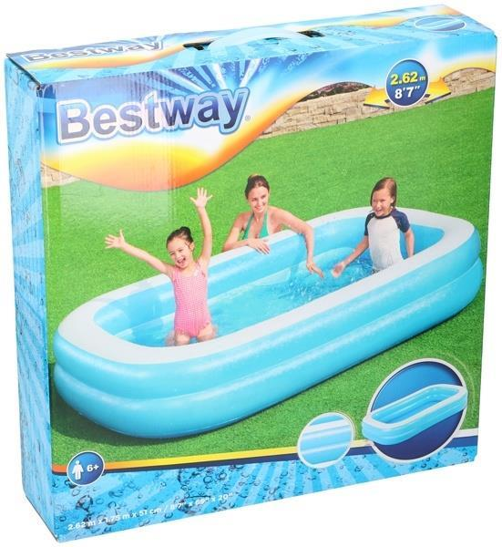 Grote foto bestway familie zwembad 2 rings 262x175x51cm alleen deze kinderen en baby zwembaden en zandbakken