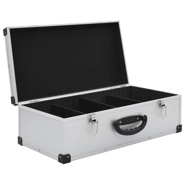 Grote foto vidaxl cd koffer voor 80 cd aluminium abs zilverkleurig audio tv en foto algemeen