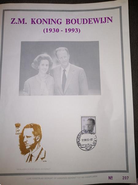 Grote foto koning boudewijn luxe kuntstblad postzegels en munten belgi