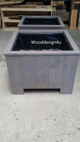 Grote foto bloembak grey wash wooddesign4u tuin en terras bloembakken